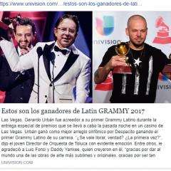 Gerardo Urbán gana último Grammy del año